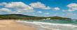 Beautiful beach Dunes on the Black Sea in Bulgaria near Sozopol. Panorama of a beautiful seashore on a sunny summer day.