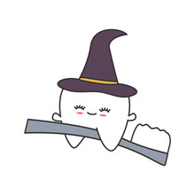 Cute Cartoon Tooth With Witch ...