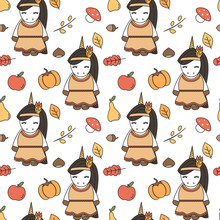 Cute Cartoon Thanksgiving Seamless Vector Pattern Background Illustration With Native Indian American Female Unicorns, Pumpkins, Apples, Pears, Leaves, Acorns, Chestnuts And Mushrooms