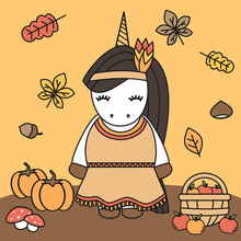 Cute Cartoon Lovely Native Indian American Female Unicorn Thanksgiving Vector Illustration