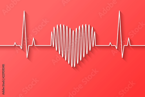 Valokuvatapetti Heart beat, rate and pulse line concept made in flat design on light red background