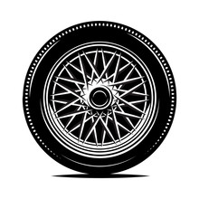 Retro Wheel Spokes For A Motorcycle Or Car. Vector Monochrome Illustration.
