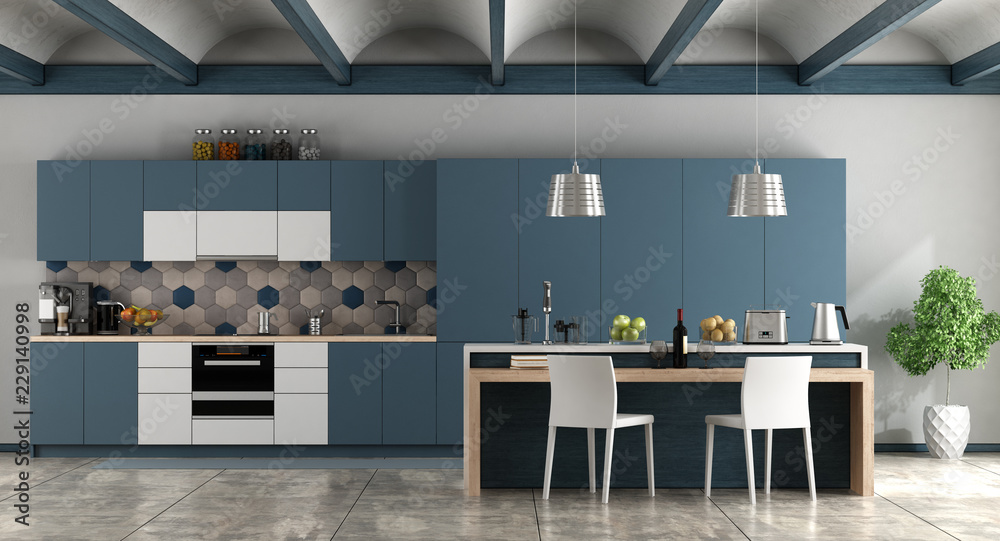 Fototapety, obrazy: White and blue contemporary kitchen