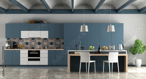 Fotografia, Obraz  White and blue contemporary kitchen