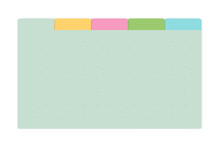 Color Dot Grid Page Notebook With Tab Dividers, Vector Mock Up