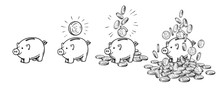 Cartoon Piggy Bank Set. Empty, With One Coin, With Falling Coins, Heaped Over Money. Wealth And Success Concept. Hand Drawn Vector Illustration.