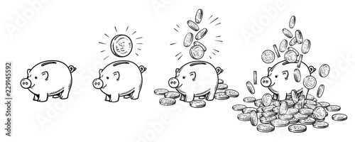 Cartoon piggy bank set Fotobehang