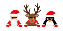 Cute Reindeer Santa Claus And Penguin Cartoon With Sunglasses For Christmas