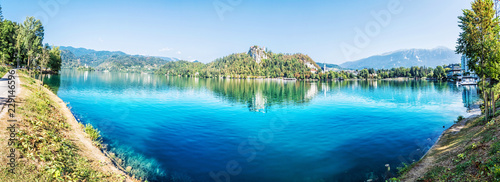 Photo Stands Landscapes Panoramic photo of Lake Bled, Slovenia