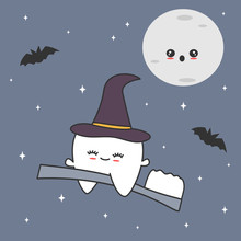 Cute Cartoon Tooth With Witch Hat Flying On Toothbrush In The Starry Night Funny Halloween Vector Illustration