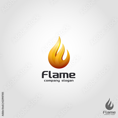 3D Flame Logo Template - Buy this stock vector and explore