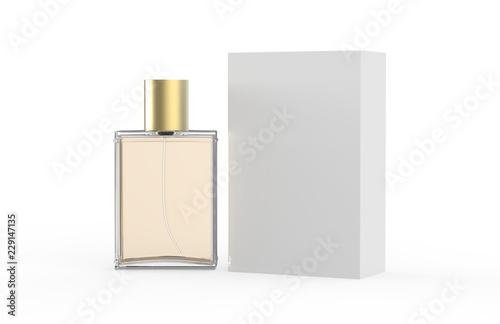 Fototapeta Perfume Bottle And Packaging Box On Isolated White Background, 3D Illustration obraz na płótnie