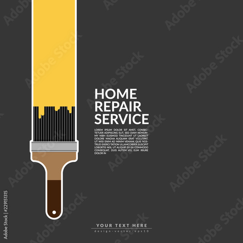 Paint Roller Paint Yellow Color Over House Logo Isolated On