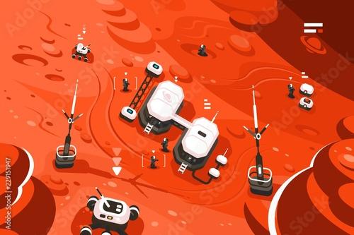 Leinwand Poster Mars planet station orbit base