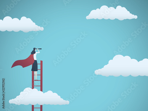 Fototapeta Business vision vector concept with business woman standing on top of ladder above clouds
