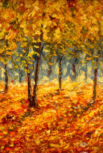 Oil Painting Landscape - Colorful Autumn Trees. Semi Abstract Image Of Forest, Aspen Trees With Yellow And Red Leaf. Autumn, Fall Season Nature Background. Hand Painted Landscape, Impressionist Style