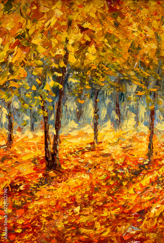 Photo sur Aluminium Orange eclat Oil painting landscape - colorful autumn trees. Semi abstract image of forest, aspen trees with yellow and red leaf. Autumn, Fall season nature background. Hand Painted landscape, Impressionist style