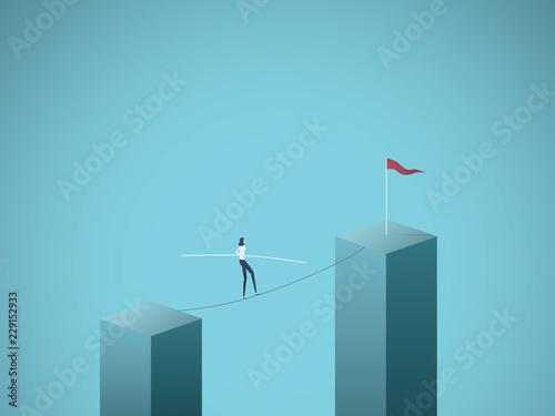 Fotografía Businesswoman walking across gap on a tightrope vector concept
