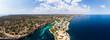 canvas print picture Luftaufnahme, Bucht Cala Pi, Strand und Felsenküste,  Tore de Cala Pi, Gemeinde Llucmajor, Mallorca, Balearen, Spanien