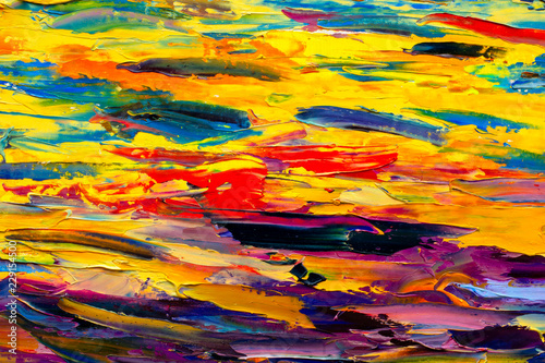 fototapeta na ścianę Closeup acrylic palette knife oil painting on canvas. Hand painted abstract grunge background. Multicolored texture. Fragment of artwork, modern art, contemporary impressionism art.