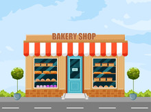 Bakery Shop Facade Vector. Architecture Detailed Cartoon Style Illustrations