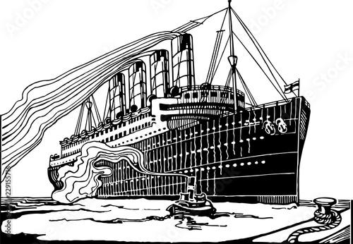 Fotografie, Obraz  Vintage Transatlantic Ship Engraving