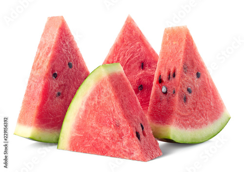 Four slices of ripe watermelon