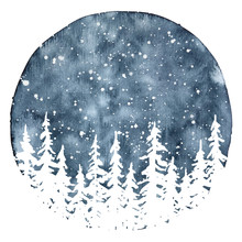 White Silhouettes Of Pine Trees In Winter Night. Watercolor Christmas And New Year Illustration