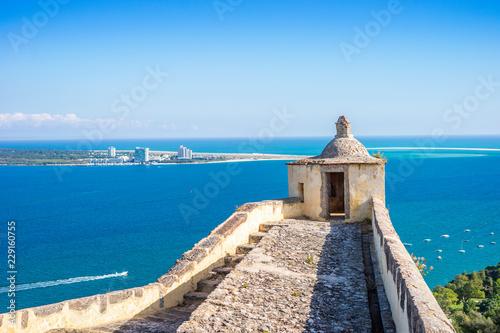 Old Setubal and modern Troia by Atlantic Ocean Fototapet