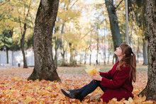 Woman With Foliage Near Tree I...