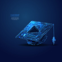 Online Learning. Square Academic Cap And PLAY Button. Polygonal Abstract Science Illustration. Low Poly Blue Vector Illustration Of A Starry Sky Or Cosmos. Vector Image In RGB Color Mode.
