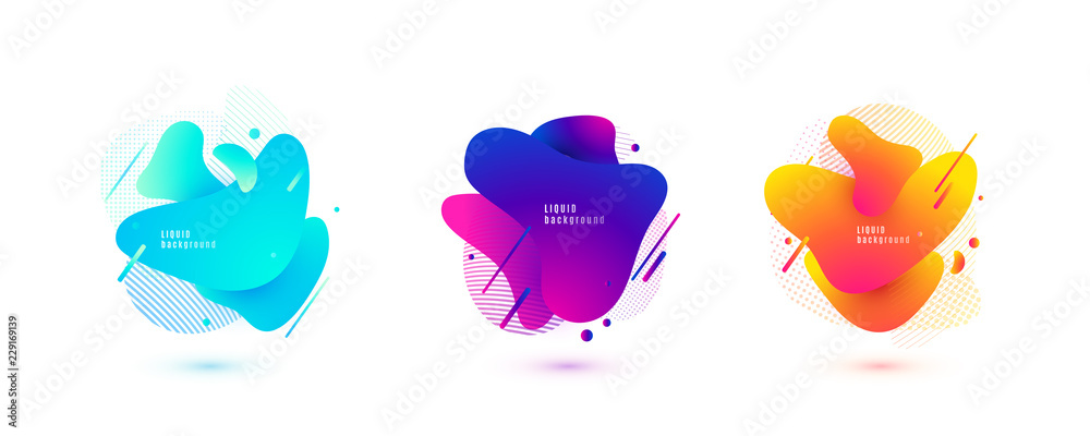 Fototapeta Abstract liquid shape. Fluid design. Isolated gradient waves with geometric lines, dots. Vector illustration.