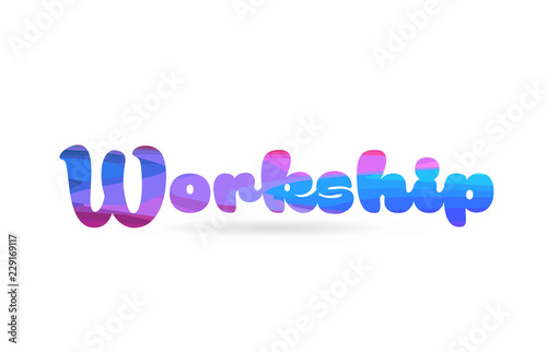 Obraz na plátne workship pink blue color word text logo icon