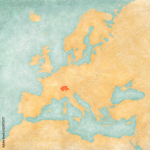 Cuadros en Lienzo Map of Europe - Switzerland
