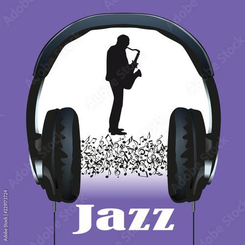 Photo  musique, jazz, casque, audio, jazzman, pochette, concert, notes de musique, symb