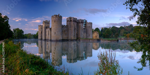 Autumn misty sunrise on Bodiam Castle, East Sussex, UK