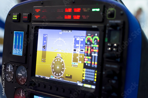 Inside helicopter cabin.