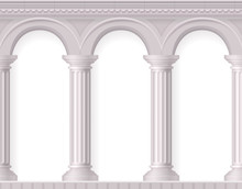 Realistic Antique White Columns Composition
