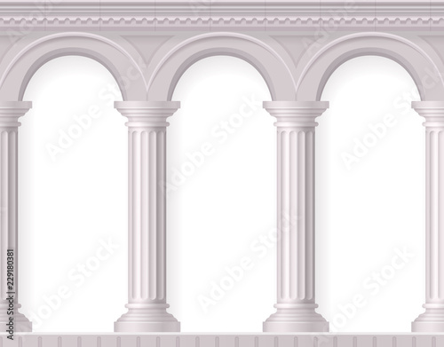 Realistic Antique White Columns Composition Canvas Print