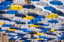 Umbrellas Hanging In The City Center Of Brno In Czech Republic