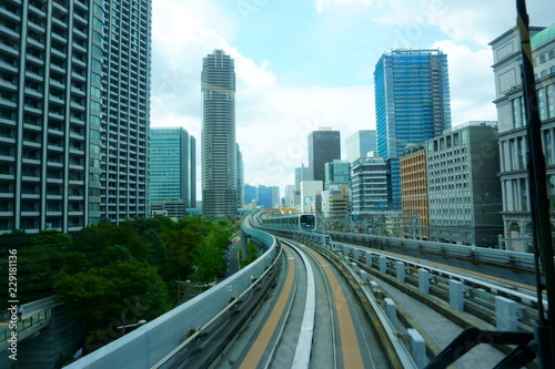 Poster Los Angeles Scenery of a train traveling on the elevated rail of Yurikamome Line in Tokyo