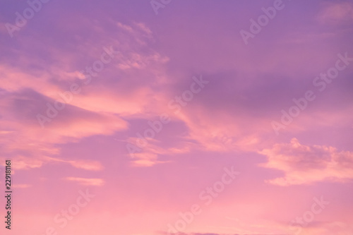Photo Stands Candy pink pink and purple sky with cloud in twilight time, fantastic pastel sky. Concept: love, happy, romantic, wonderful feeling.
