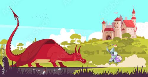 Castle Dragon Knight Illustration