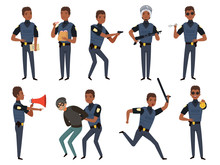 Police Characters. Patrol Policeman Security Authority Mascots In Action Poses Vector Cartoon Illustration. Cop Police, Male Patrol Uniform