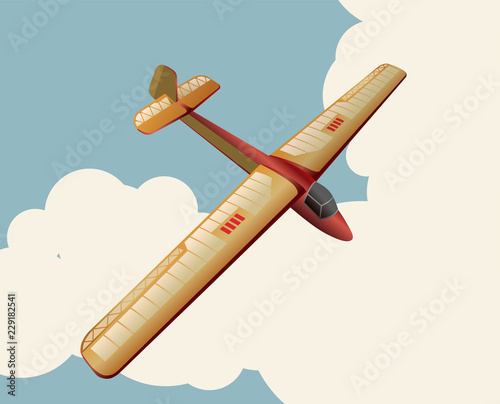 Model glider flying over sky with clouds in vintage color stylization Wallpaper Mural