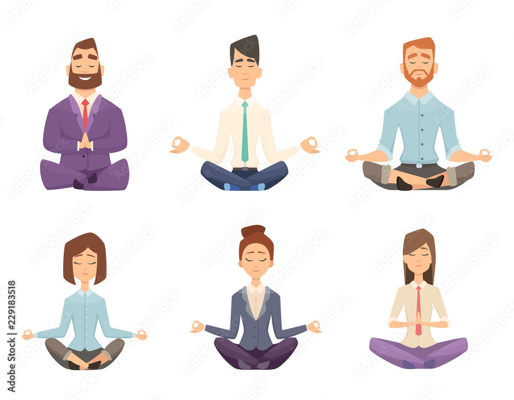 Fototapeta Businessman yoga. Man and woman relaxing meditation at workspace table vector concept cartoon illustration. Pose yoga, relax and meditation