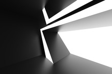 Black Futuristic Architecture Background. Unusual Building Construction