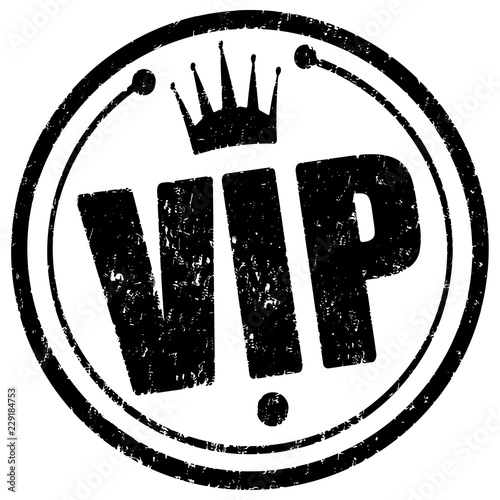 Photographie Black circle rubber stamp Vip with crown.