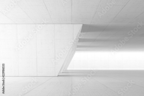 Fototapeta Abstract Empty space with white wall. Modern blank showroom with floor. Future concept. 3d rendering. obraz