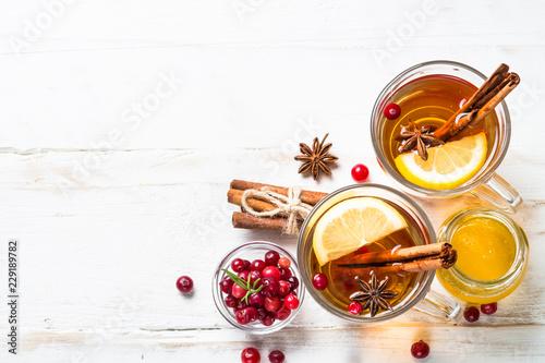 Fotografie, Obraz  Autumn hot tea with lemon and spices